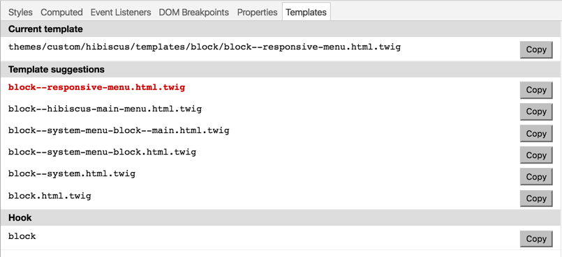 Sample output from Drupal Template Helper