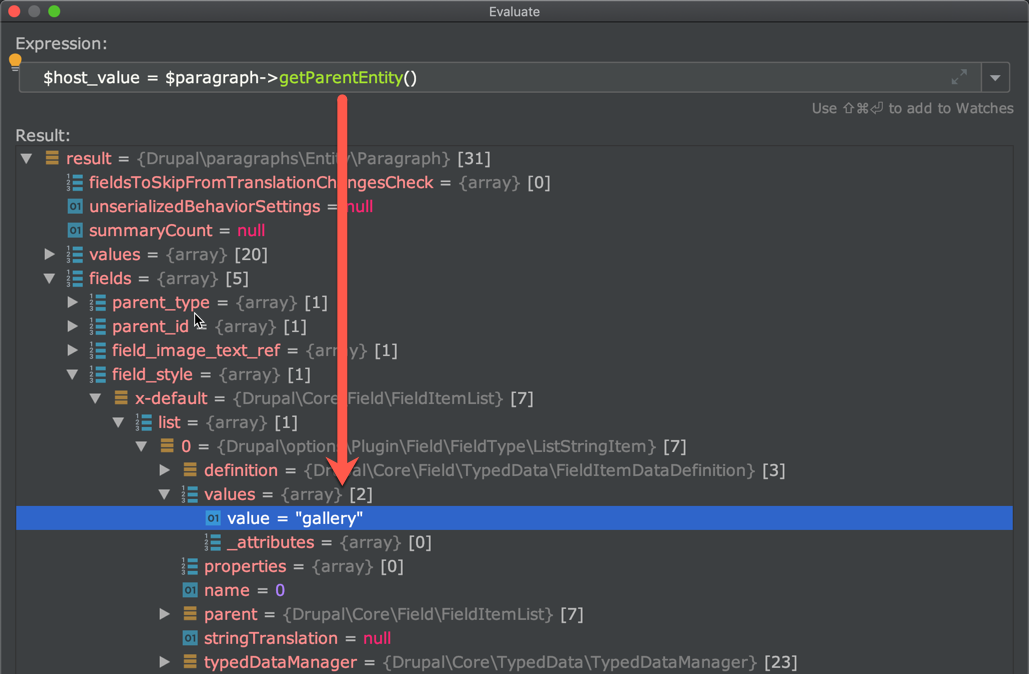 Xdebug in action showing getParentEntity() evaluated