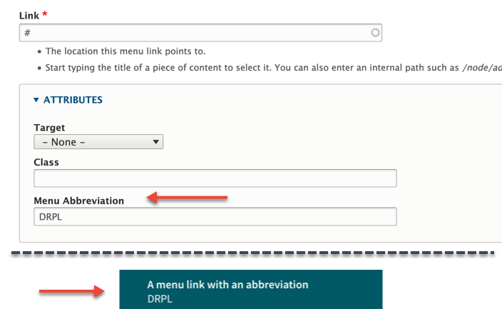 The Drupal 8 menu admin UI showing the new field for an abbreviation attribute