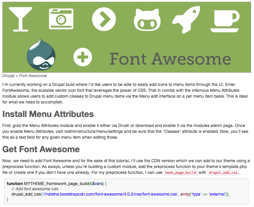 Drupal Theming: Adding Font Awesome Icons to Menu Items